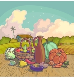 Harvesting autumn symbols fruits and vegetables vector image