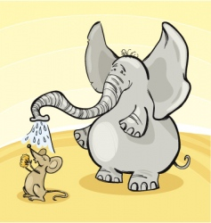 Mouse and elephant vector