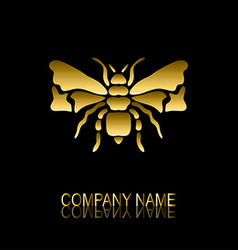 Golden bee symbol vector