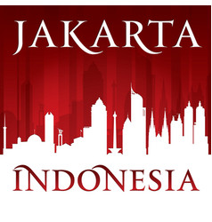 Jakarta indonesia city skyline silhouette red vector