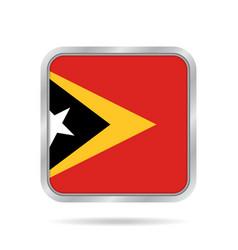 Flag of east timor metallic gray square button vector
