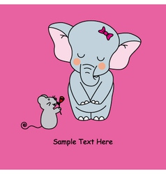 Mouse gives a flower to an elephant vector image