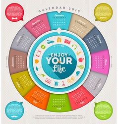 Calendar 2015 with hiopster elements vector image