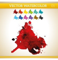 Red watercolor artistic splash for design and vector