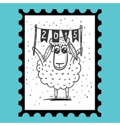 Stamp with sheep vector