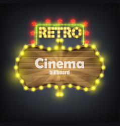 Wooden cinema retro billboard banner vector