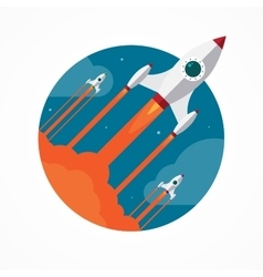Startup concept with flying pencil rockets vector