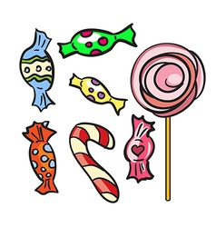 Collection of different doodle candy vector