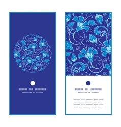 Dark blue turkish floral vertical round vector