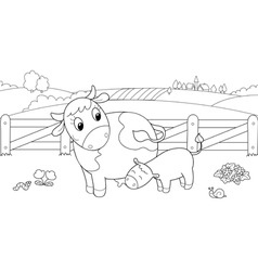 Cute cow feeding calf vector