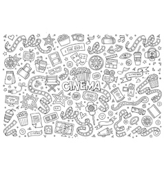 Cinema movie film doodles sketchy symbols vector