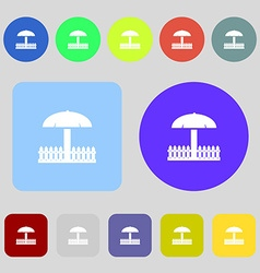 Sandbox icon sign 12 colored buttons flat design vector