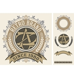 Retro label with monogram and elements vector