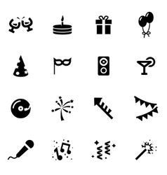 Black party icon set vector