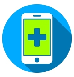 Mobile medicine flat round icon with long shadow vector