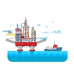 Drilling rig at sea vector