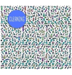 Hand drawn cleaning tools seamless logo vector image