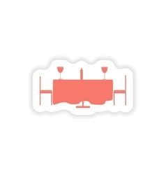 Paper sticker on white background romantic dinner vector