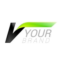 V letter black and green logo design Fast speed vector image