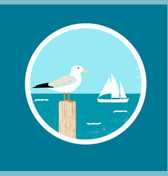 badge with seagull and ship vector image vector image