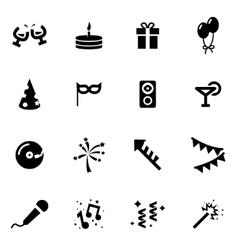 black party icon set vector image vector image