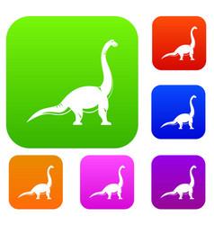 brachiosaurus dinosaur set color collection vector image vector image