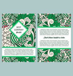 brouchure design with green outline swirls vector image