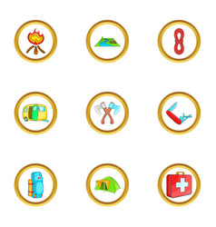 Camping rest icons set cartoon style vector