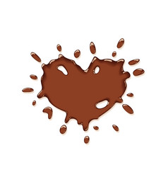 chocolate splash heart vector image vector image