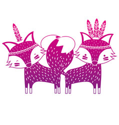 Color silhouette fox animals couple together with vector