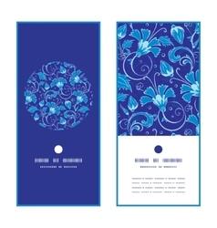 Dark blue turkish floral vertical round vector