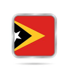 Flag of east timor metallic gray square button vector
