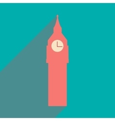 Flat icon with long shadow big ben vector