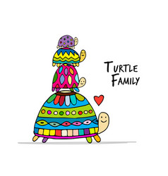 Funny family turtle with chidren sketch for your vector