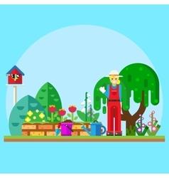 Gardener in the garden vector