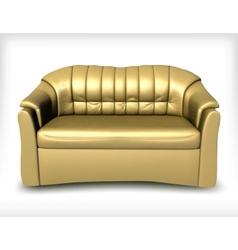 Golden leather sofa vector