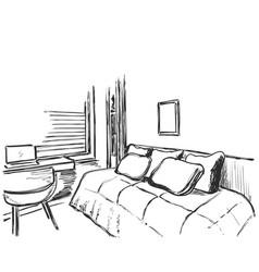 Hand drawn interior sketch comfortable sofa and vector