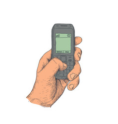 Hand with old mobile phone vector