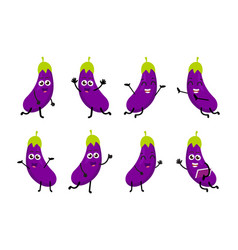 Happy eggplant cartoon character vector