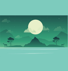 lake scenery with mountain silhouette vector image vector image