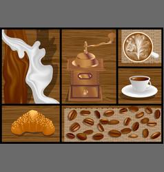 Morning coffee set vector