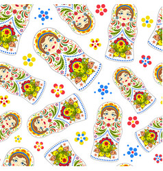Seamless pattern with russian dolls vector