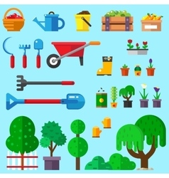 set of flat gardening icons vector image