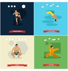 Set of martial arts flat design vector