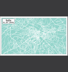 Sofia bulgaria city map in retro style outline map vector