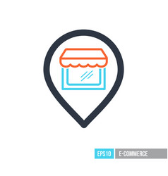 supermarket store front pin map icon vector image