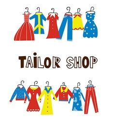 Tailor and sewing shop background with clothes vector
