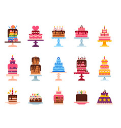 Wedding or birthday pie cakes flat sweets dessert vector