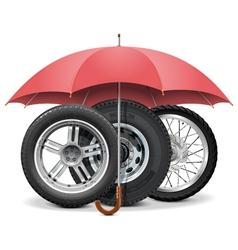 Wheels under Umbrella vector image