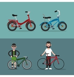 bike and cyclist icons image vector image